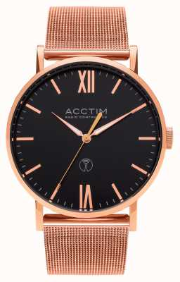 Acctim Mens Sterling Radio Controlled Rose Gold Mesh Strap Watch 60410