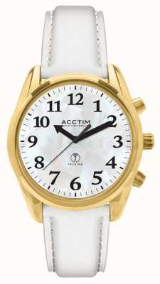 Acctim Robin Radio Controlled Talking White Leather Watch 60542