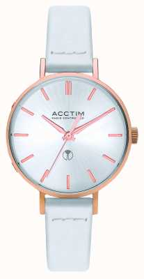 Acctim Womens Bonny Radio Controlled White Leather Strap 60512