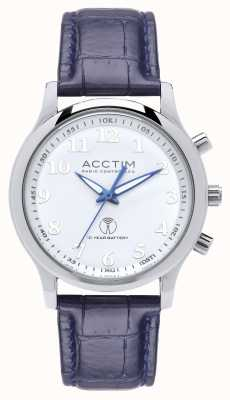 Acctim Mens Oro Radio Controlled Blue Leather Strap Watch 60059