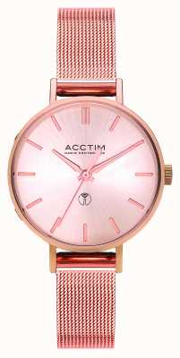 Acctim Womens Bonny Radio Controlled Rose Gold Mesh Bracelet Watch 60510
