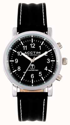 Acctim Mens Pilota Radio Controlled Black Leather Strap Watch 60233