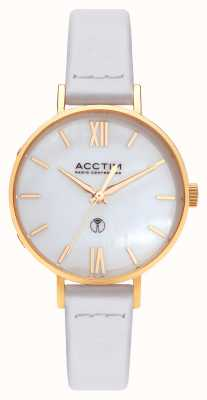 Acctim Womens Bonny Radio Controlled White Leather Watch 60522