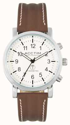 Acctim Mens Pilota Radio Controlled Brown Leather Strap Watch 60236