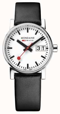 Mondaine Evo2 30mm Big Date Black Leather Strap White Dial MSE.30210.LB