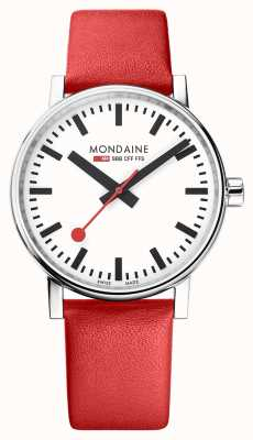 Mondaine Evo2 40mm Sapphire Crystal Red Leather Strap White Dial MSE.40110.LC