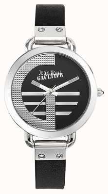 Jean Paul Gaultier Womens Index G Black Leather Strap Black Dial JP8504315