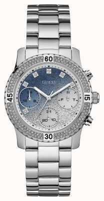 Guess Womens Confetti Sport Chronograph Silver Tone W0774L6
