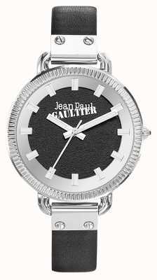 Jean Paul Gaultier Womens Index Black Leather Strap Black Dial JP8504312