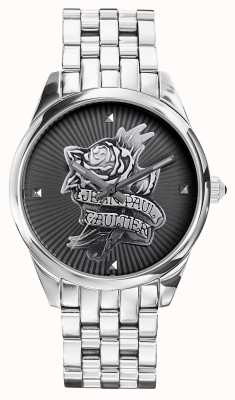 Jean Paul Gaultier Navy Tatoo Stainless Steel Bracelet Black Dial JP8502407