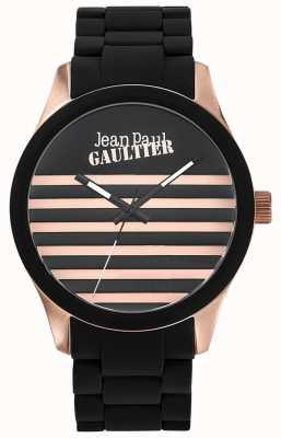 Jean Paul Gaultier Enfants Terribles Black Rubber Steel Bracelet Black Dial JP8501122