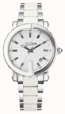 Jean Paul Gaultier Womens Point G Stainless Steel Bracelet White Dial JP8500501