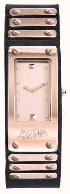 Jean Paul Gaultier Factory Black Leather Strap Rose Gold Dial JP8503803