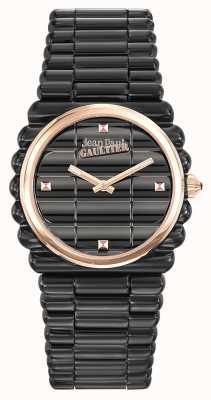 Jean Paul Gaultier Womens Bord Cote Black PVD Bracelet Black Dial JP8504104