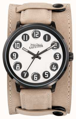 Jean Paul Gaultier Mens Decroche Beige Leather Strap White Dial JP8504702