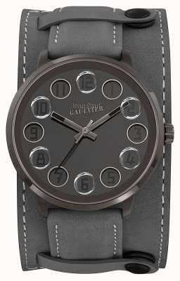 Jean Paul Gaultier Mens Decroche Grey Leather Strap Grey Dial JP8504703