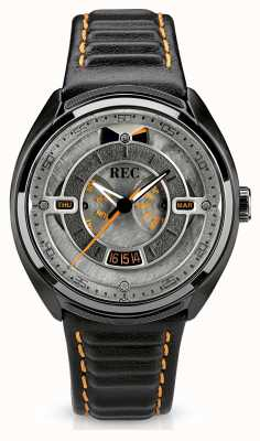 REC Porsche Automatic Black Leather Strap Grey Dial p-901-03