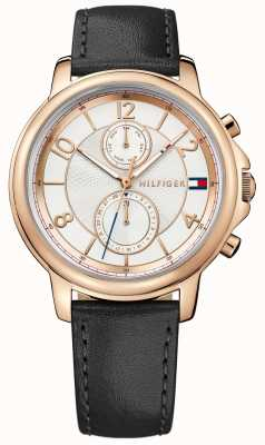 Tommy Hilfiger Ladies Rose Gold Black Strap 1781817