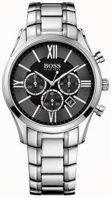 Hugo Boss Mens Ambassador Stainless Steel Bracelet Black Dial 1513196