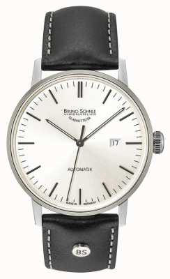Bruno Sohnle Stuttgart Big Automatic 44mm Silver Dial Black Leather Watch 17-12173-247