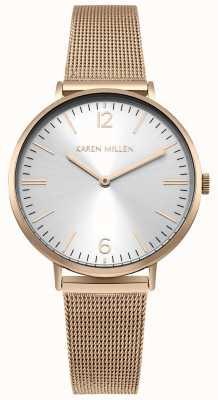 Karen Millen Womens Rose Gold Stainless Steel Mesh Bracelet KM163RGM