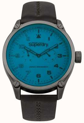 Superdry Mens Blue Dial Leather Strap Watch SYG208UBR