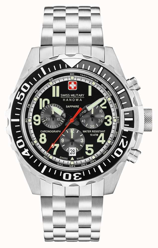 Swiss Military Hanowa Mens Touchdown Chronograph Black 06-5304.04 ... 349445f1052