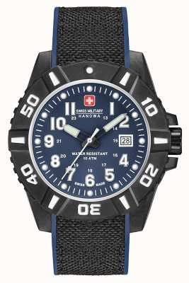 Swiss Military Hanowa Mens Black Carbon Matt Blue Strap 06-4309.17.003SM