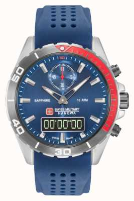 Swiss Military Hanowa Mens Multimission Blue Dial Blue Silicone 06-4298.3.04.003
