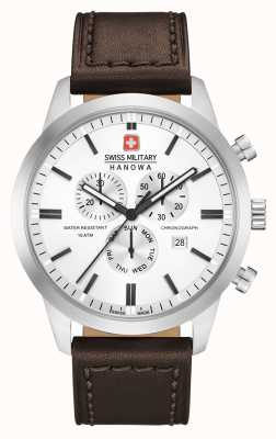 Swiss Military Hanowa Mens Chrono Classic Brown Leather Strap 06-4308.04.001