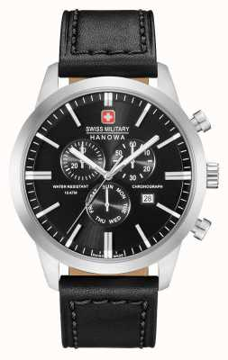 Swiss Military Hanowa Mens Chrono Classic Black Leather Strap 06-4308.04.007