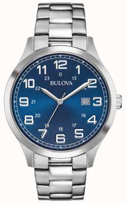 Bulova Mens Dress Watch Blue Dial Stainless Steel Bracelet 96B273