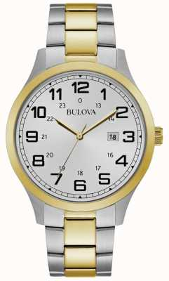 Bulova Mens Dress Watch Two Tone Stainless Steel Bracelet 98B304