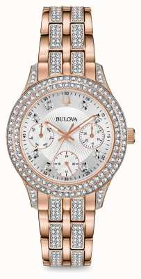 Bulova Womens Rose Gold Tone Crystal Watch 98N113