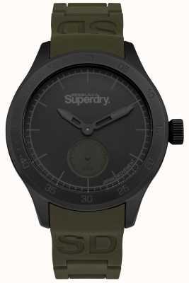 Superdry Mens Khaki Silicone Bracelet Black Dial SYG212NB