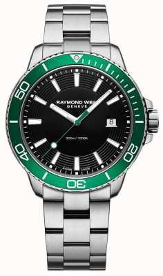 Raymond Weil Tango Green Bezel Stainless Steel Watch 8260-ST7-20001