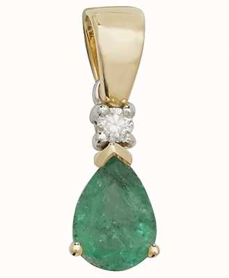 James Moore TH 9k Yellow Gold Pear Emerald Diamond Pendant PD237E