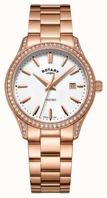 Rotary Womens Oxford Rose Gold Stainless Steel Quartz Watch LB05096/02