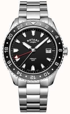 Rotary Mens Henley Black Stainless Steel Quartz Watch GB05108/04