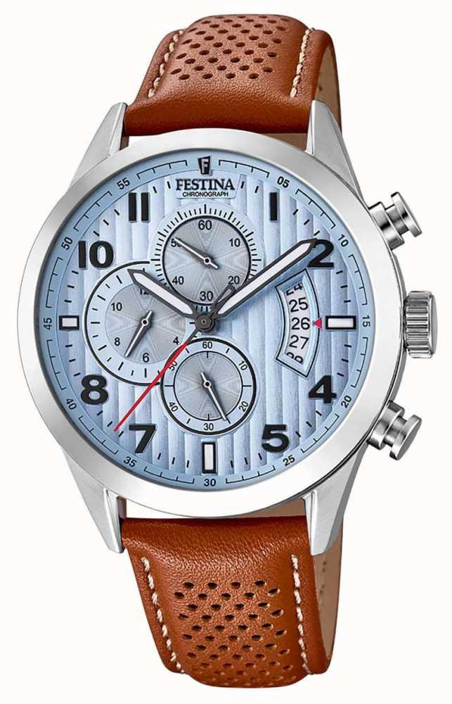 ae77b271f Festina Mens Sports Chronograph Watch Brown Leather Strap F20271/4 ...