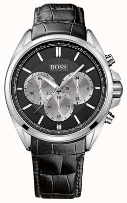 Hugo Boss Mens Black Leather Chronograph Watch 1512879