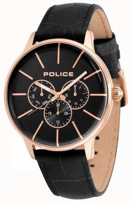 Police Mens Seift Black Leather Strap Black Dial 14999JSR/02