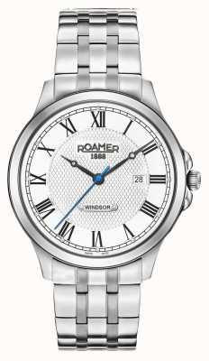 Roamer Mens Windsor White Patterned Dial Stainless Steel Bracelet 706856411270
