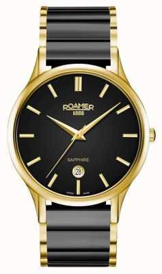 Roamer Mens C-Line Black Ceramic Watch Gold Case 657833485560
