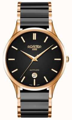 Roamer Mens C-Line Black Ceramic Watch Rose Gold Case 657833495560