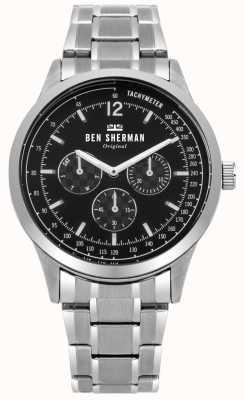Ben Sherman Mens Silver Bracelet Black Multi-function Dial WB073BSM