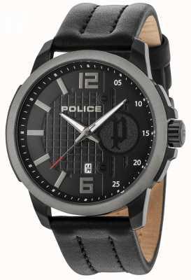 Police Mens Squad Black Case Black Dial Leather Strap 15238JSBU/02
