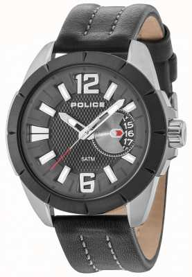 Police Mens Oitcher Gun Case Black Dial Leather Strap 15240JSUB/02