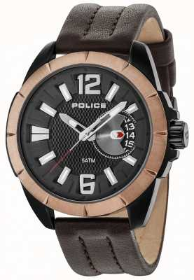 Police Mens Pitcher Brown Case Black Dial Leather Strap 15240JSBBN/02
