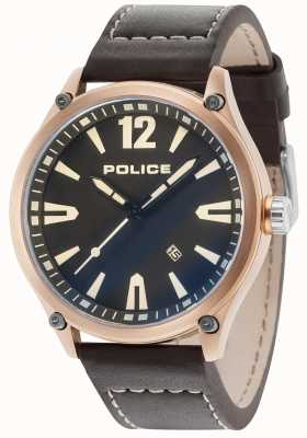 Police Mens Denton Rose Gold Case Black Dial Leather Strap 15244JBR/02